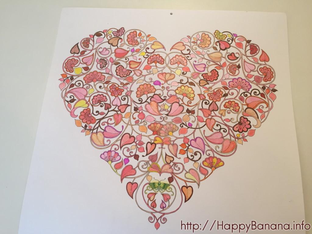 大人の塗り絵カレンダー『ひみつの花園』 2月も完成!今回はバレンタインのハート♡