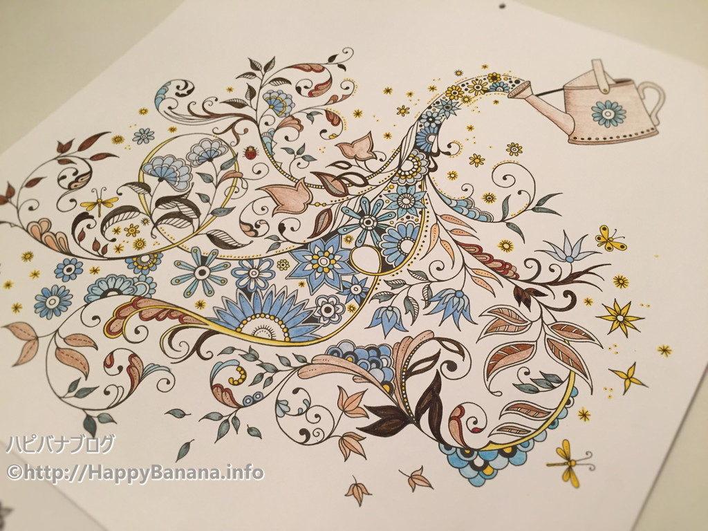 大人の塗り絵『ひみつの花園』5月は大満足の出来!今回のポイントも色限定と塗り残しです。