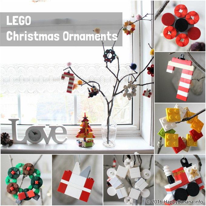 レゴでクリスマスオーナメント7種類!木の枝に飾るとポップで可愛いツリーになりました。