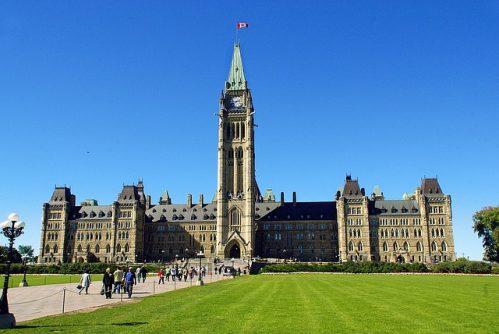 カナダの首都オタワにあるパーラメントヒルと呼ばれる国会議事堂