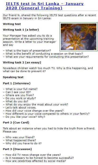 IELTS-BlogのRecent Examに掲載されている直近のIELTS試験内容情報