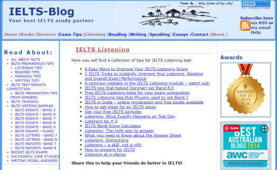 Simone Bravermanが管理しているIELTS_Blog.comのトップ画面