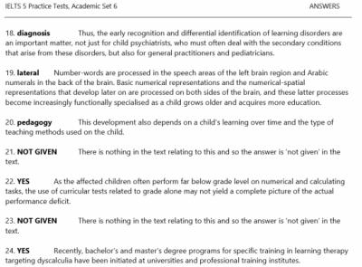 IELTS 5 Practice TestsのReadingセクションの解答解説ページ