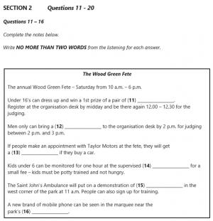 IELTS 5 Practice Testsのリスニングページ