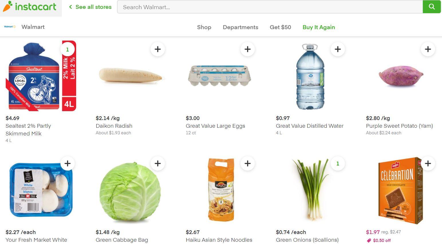 Instacart上のWalmartの商品