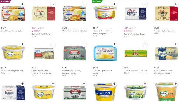 Instacart上のWalmartのバターの品揃え